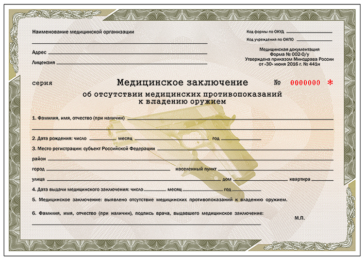 Медицинская справка на оружие в марьино Справка 082 у Проезд Черепановых